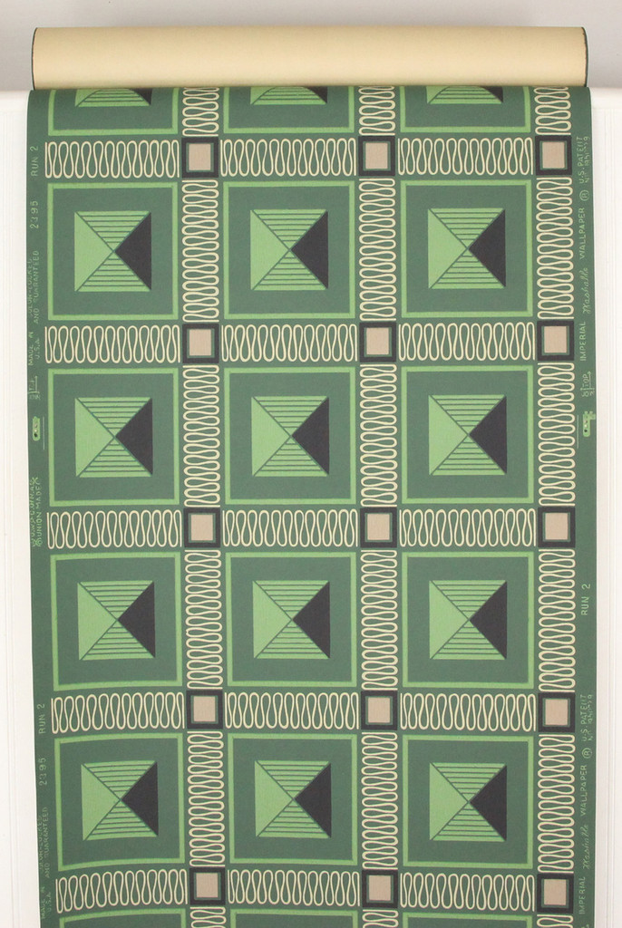 1950s Vintage Wallpaper Retro Green Squares
