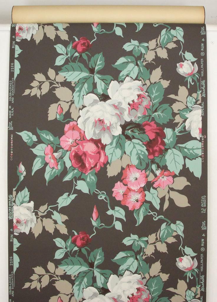 1950s Vintage Wallpaper Cabbage Rose Bouquet