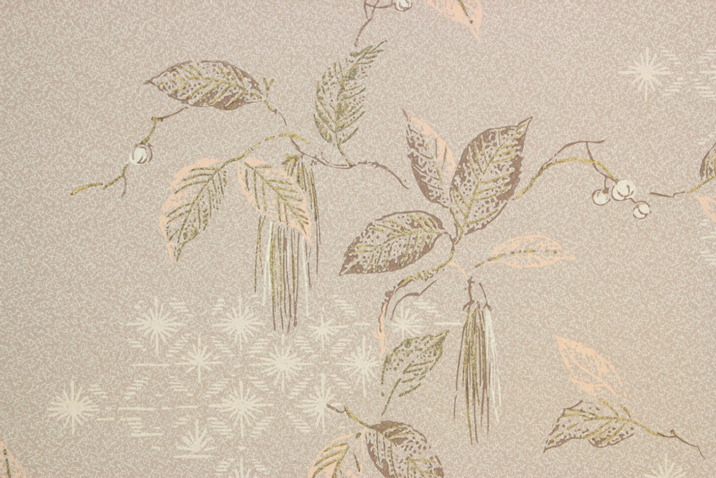 1950s Vintage Wallpaper Mid Century Gold Leaves on Beige