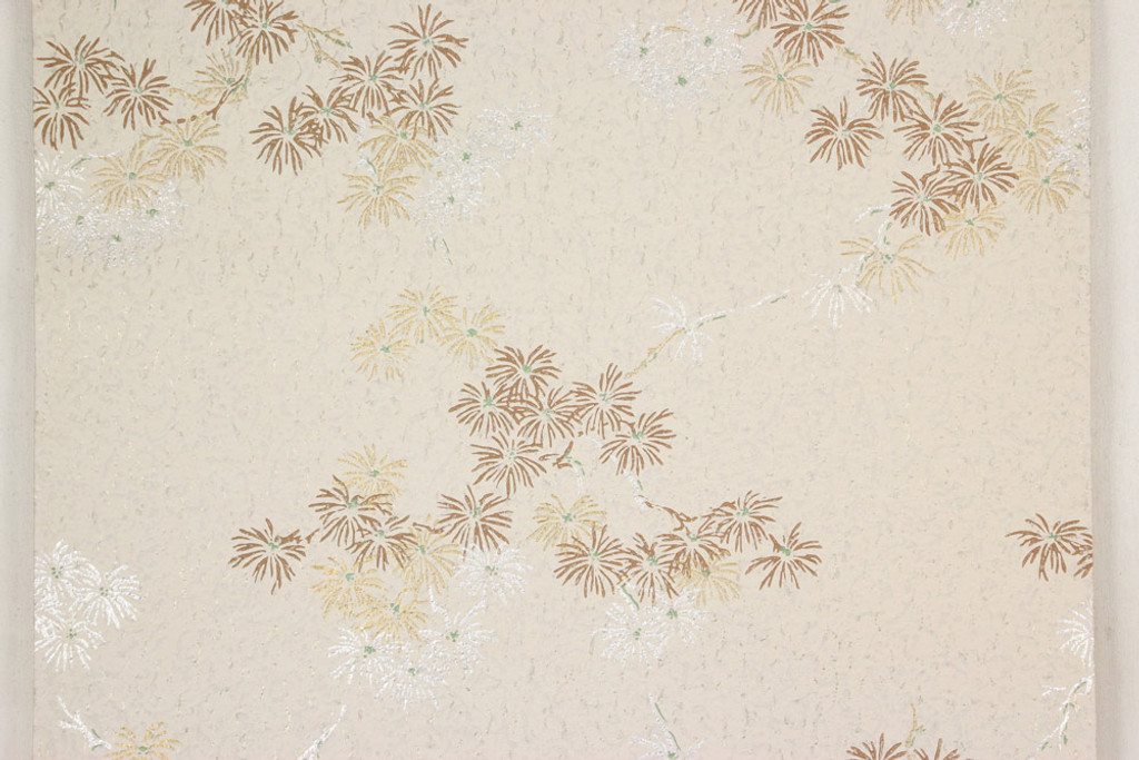 1950s Vintage Wallpaper Brown Gold and Silver Flowers