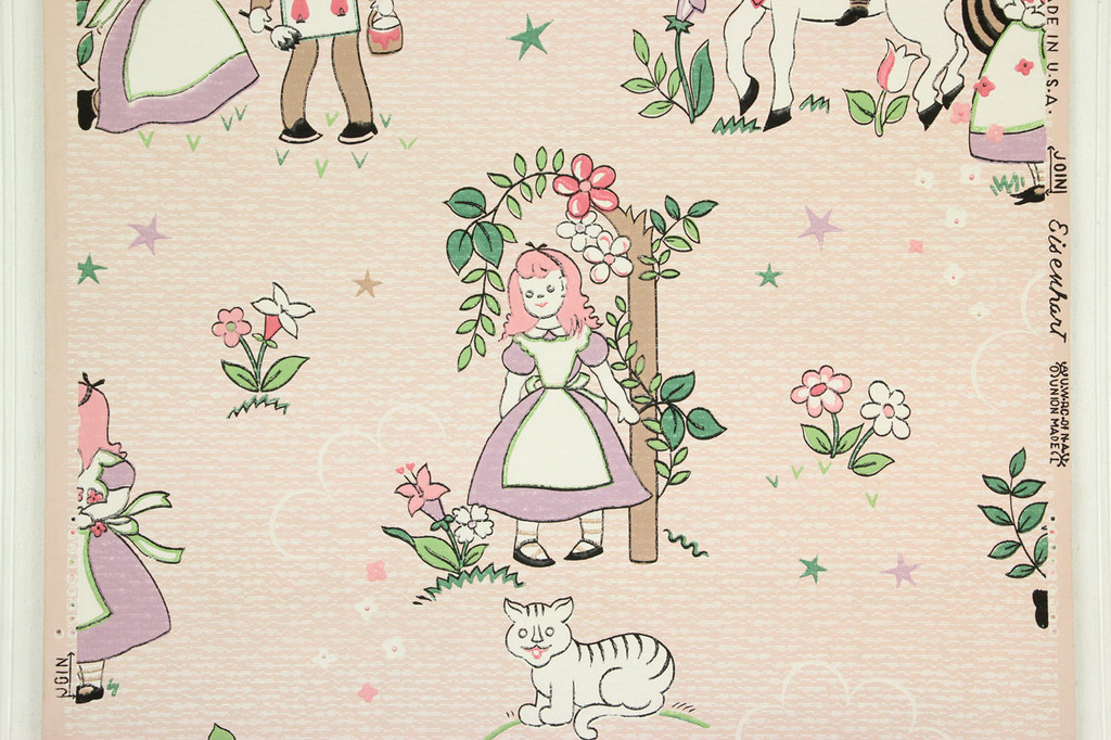 1940s Vintage Wallpaper Alice in Wonderland Character Knight White Horse