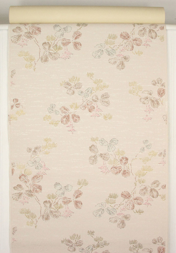 1950s Vintage Wallpaper Leaves Pink Flowers
