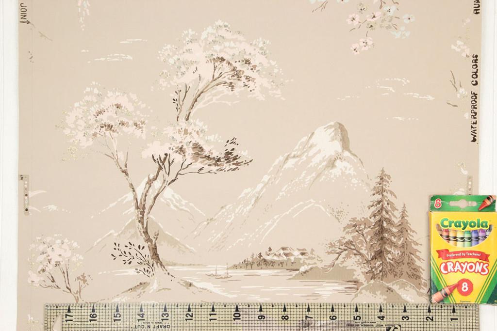 1950s Vintage Wallpaper Mountains on Beige