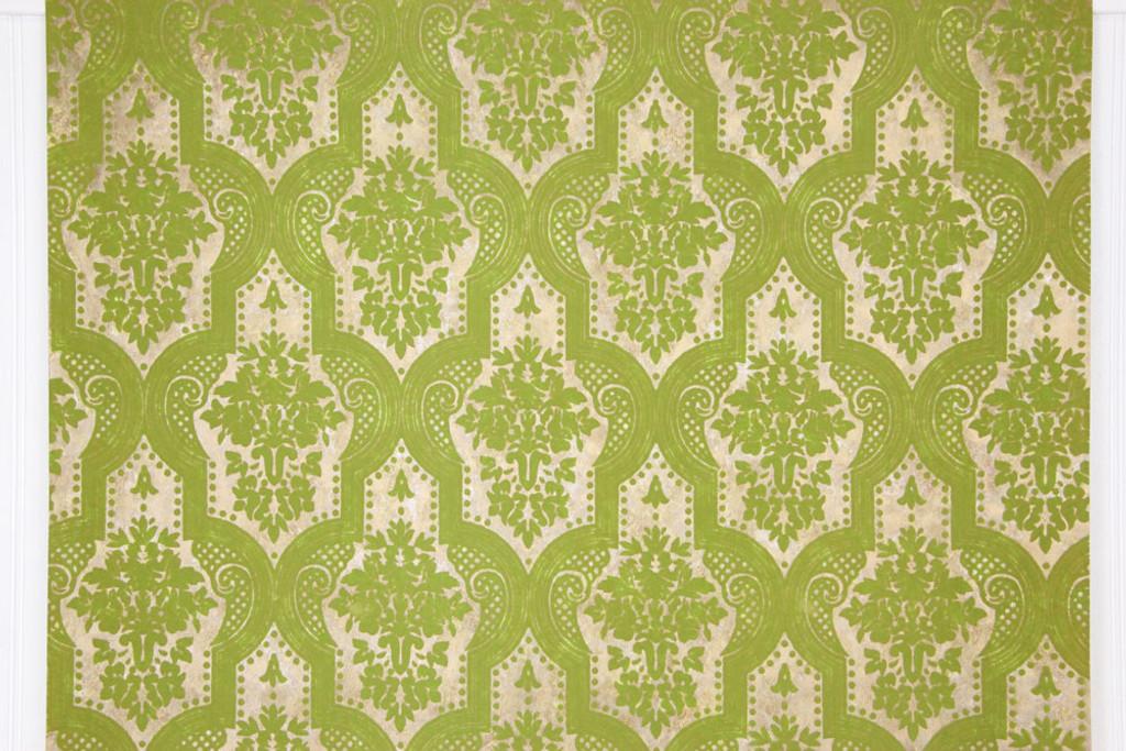 Brand-new 1970s Retro Vintage Wallpaper Flocked Green Damask - Rosie's  SB63