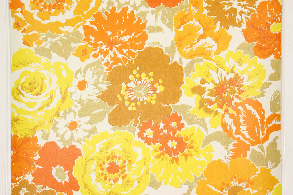 Completely new 1970s Vintage Wallpaper Retro Brown Orange and Yellow Flowers  UR91