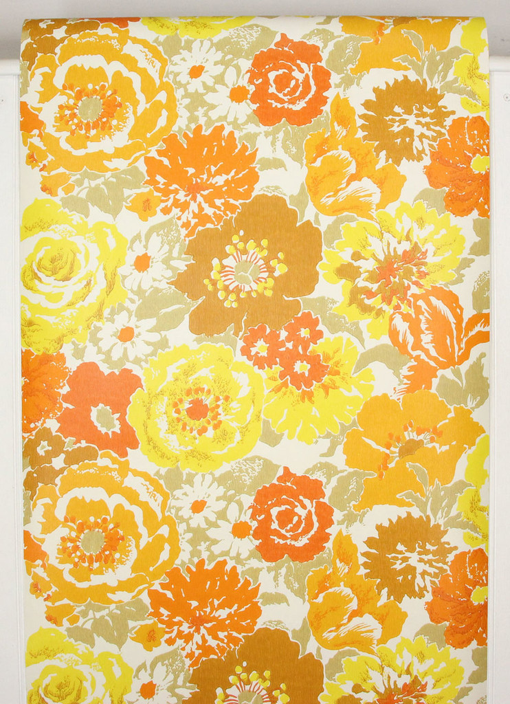 Brown And Yellow Living Room Decor: 1970s Vintage Wallpaper Retro Brown Orange And Yellow