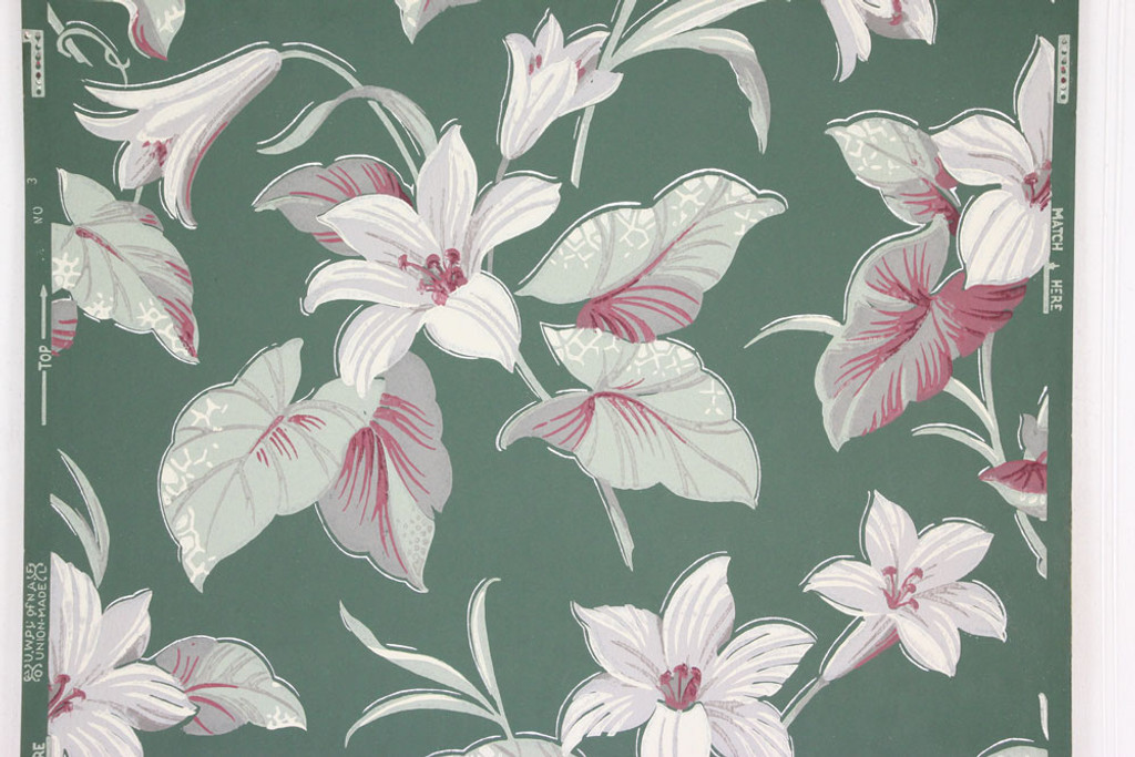 1940s vintage wallpaper white and red flowers on green rosies 1940s vintage wallpaper white and red flowers on green mightylinksfo