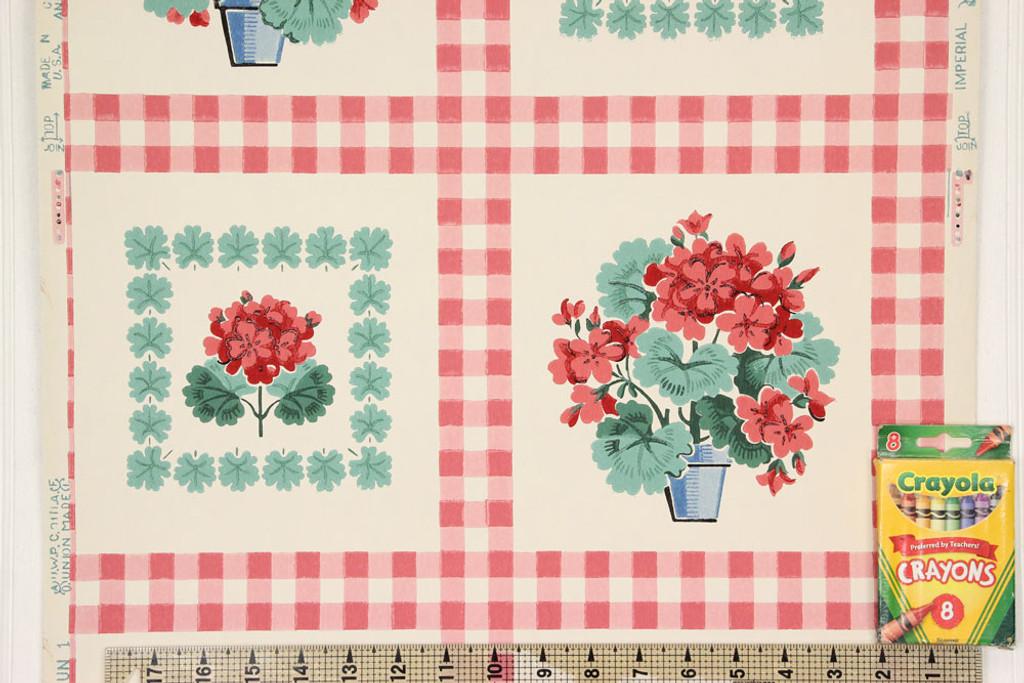 1940s Vintage Wallpaper Red Gingham Geraniums