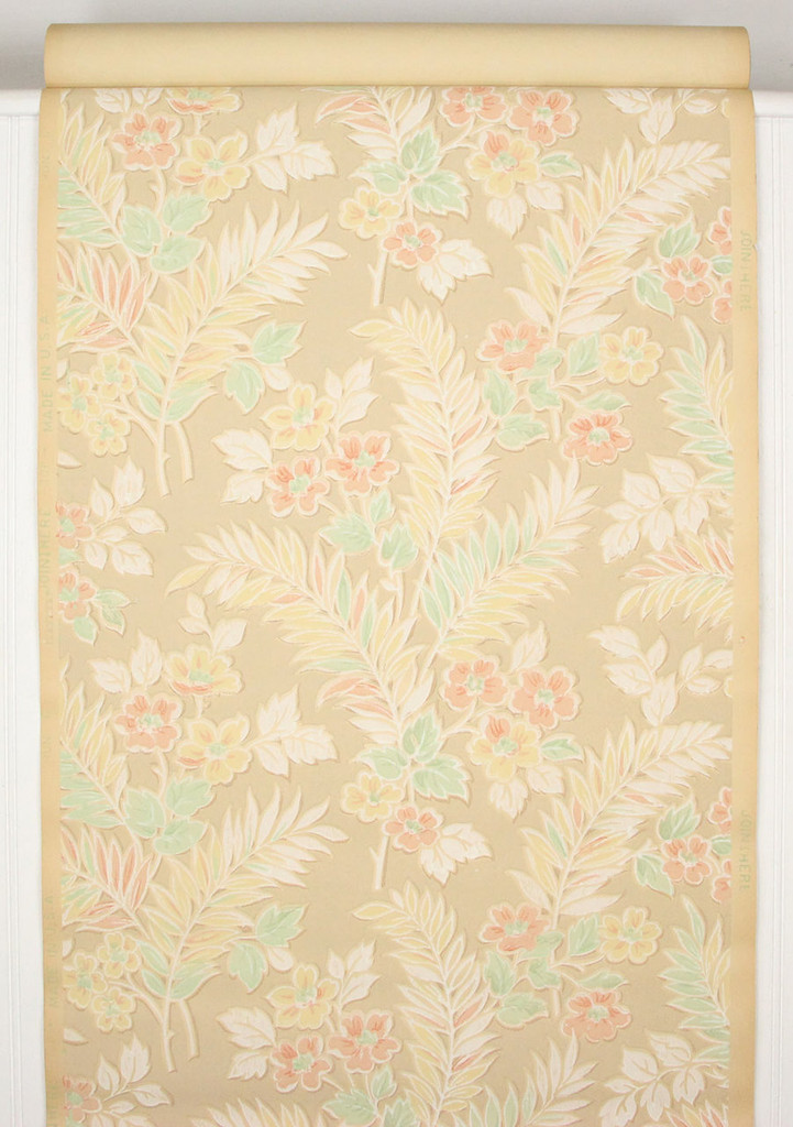1930s Vintage Wallpaper Pink Yellow Flowers