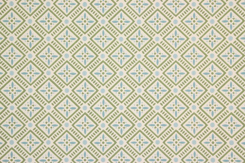 1950s Vintage Wallpaper Blue Green Geometric