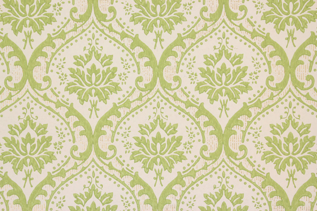 1960s Vintage Wallpaper Green Damask