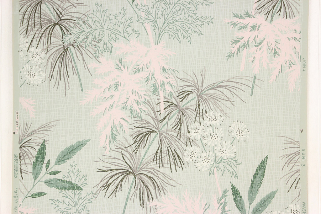 1950s Vintage Wallpaper White Flowers Pink Green Leaves