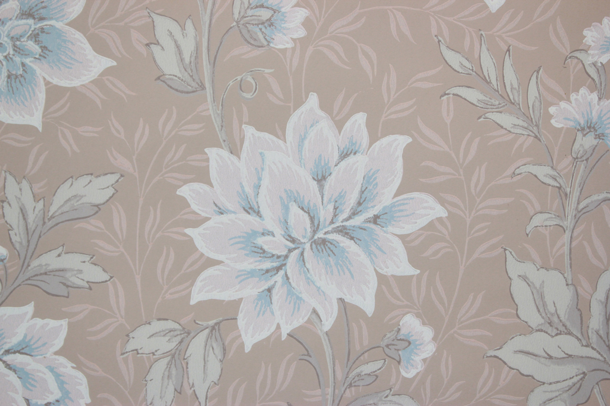1940s Vintage Wallpaper Blue And Pink Flowers On Beige Rosies