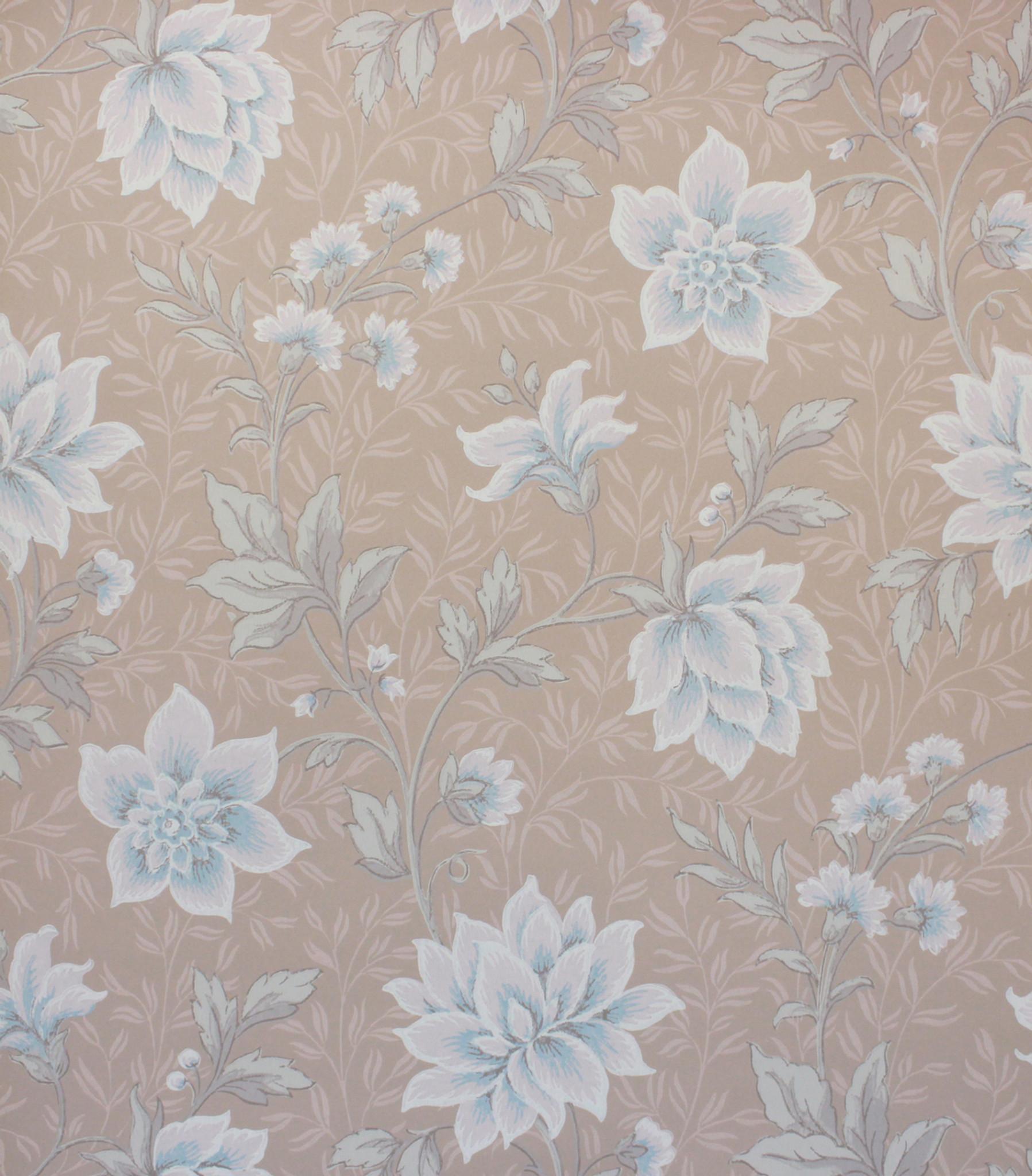 1940s Vintage Wallpaper Blue And Pink Flowers On Beige Rosies
