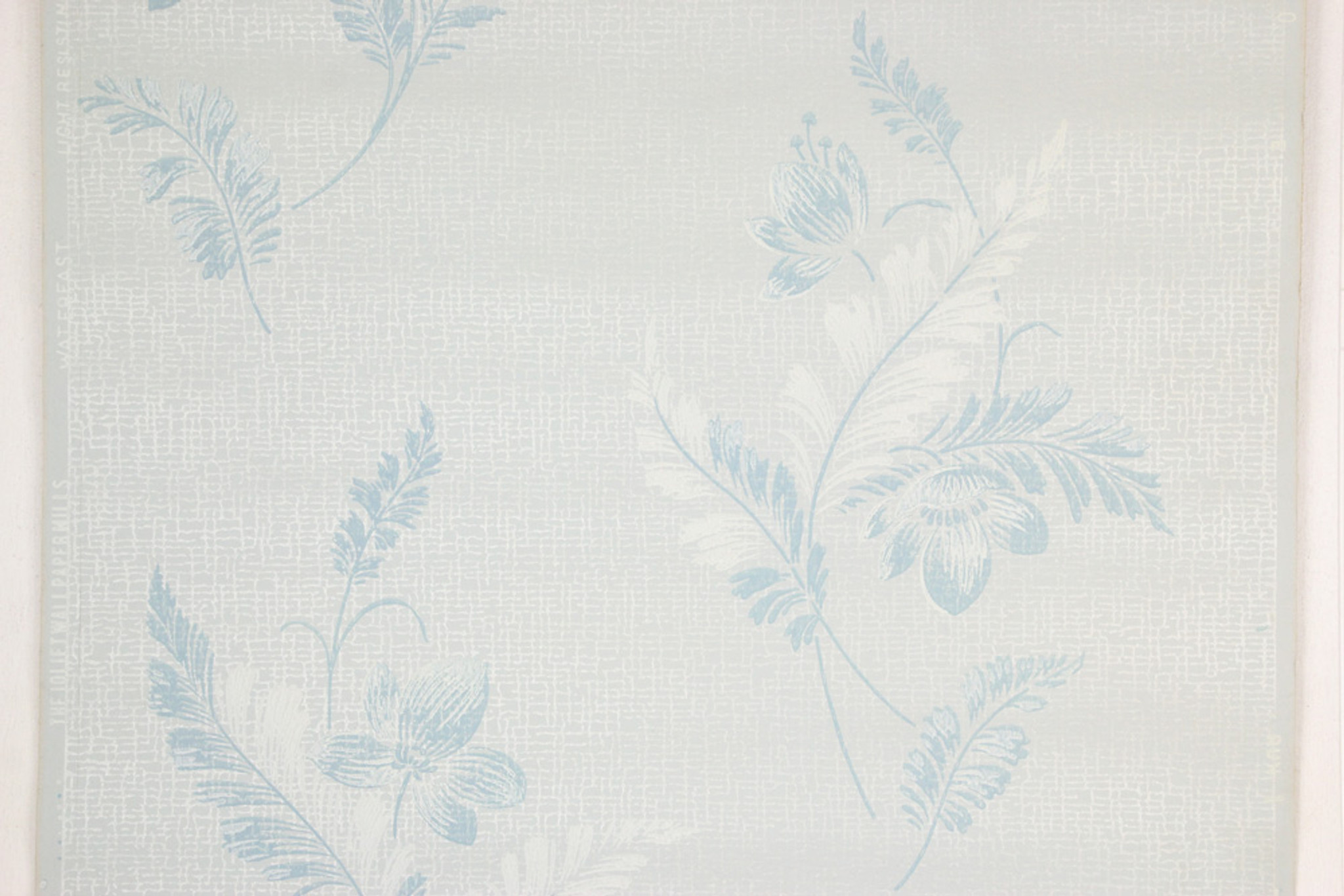 1950s Vintage Wallpaper Blue And White Flowers On Light