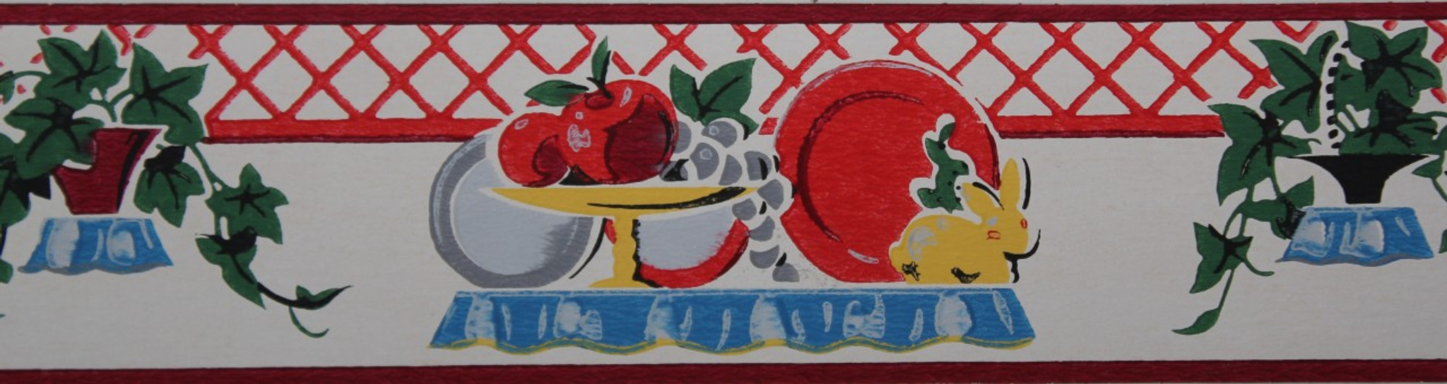 Bon Duro Vintage Wallpaper Border Kitchen Plates And Fruit ...