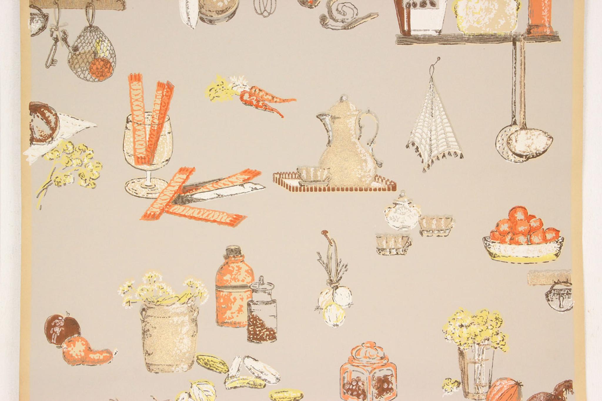 1930s Vintage Wallpaper Orange and Yellow Kitchen on Beige - Rosie\'s ...