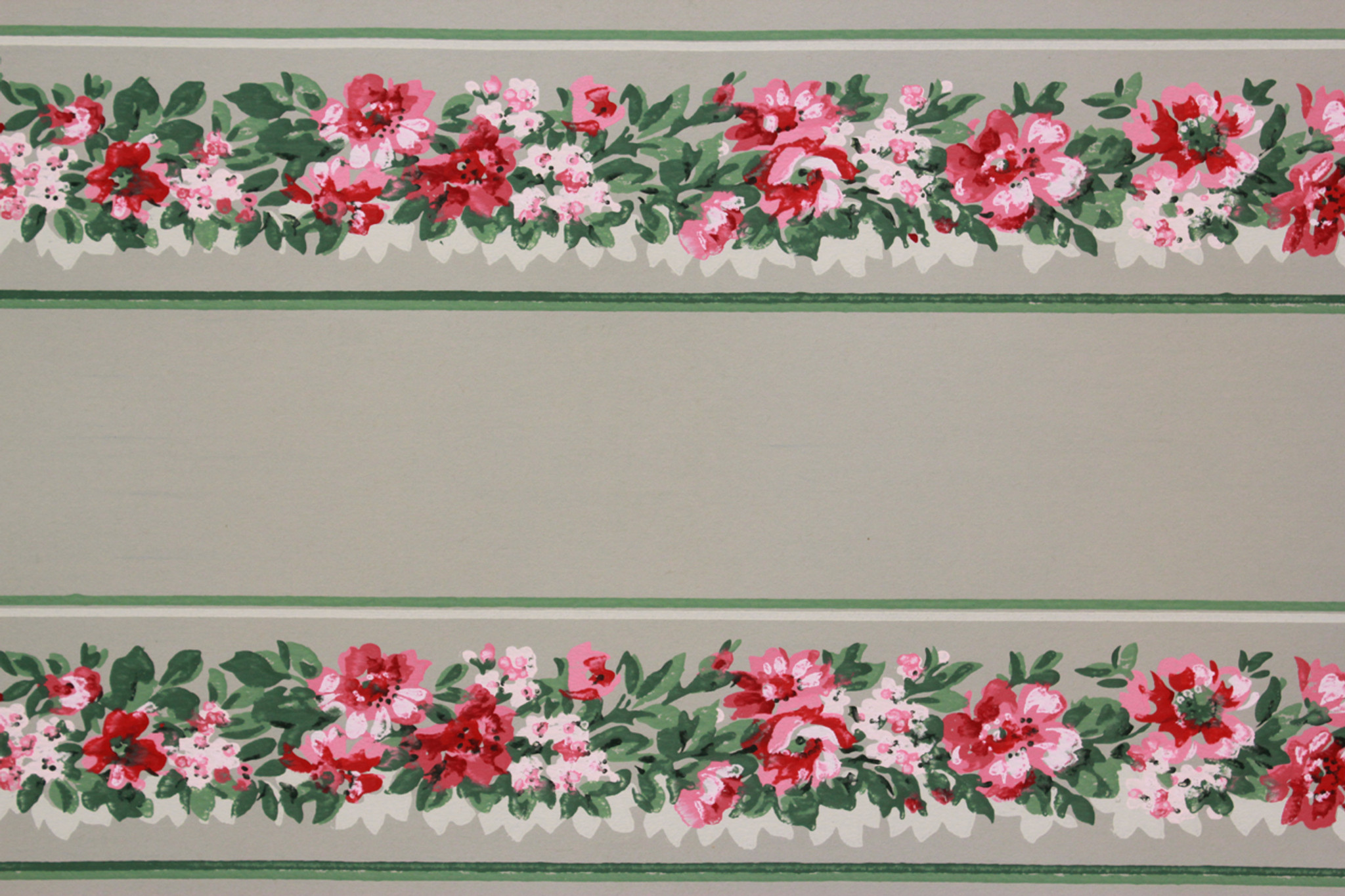 1940s Vintage Wallpaper Border Pink Flowers On Green Rosies