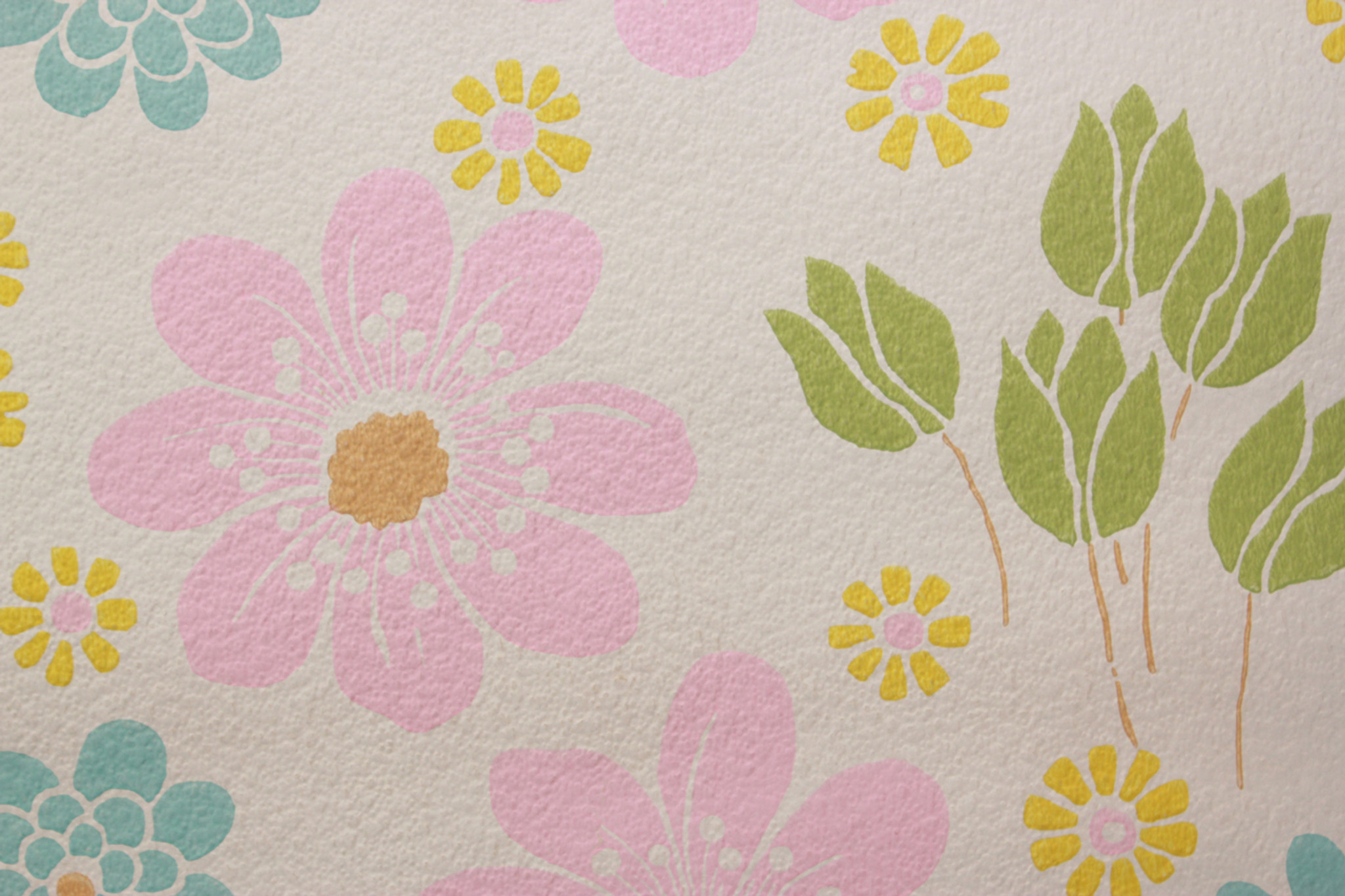 1970s Vintage Wallpaper Pink Blue And Yellow Flowers Rosies
