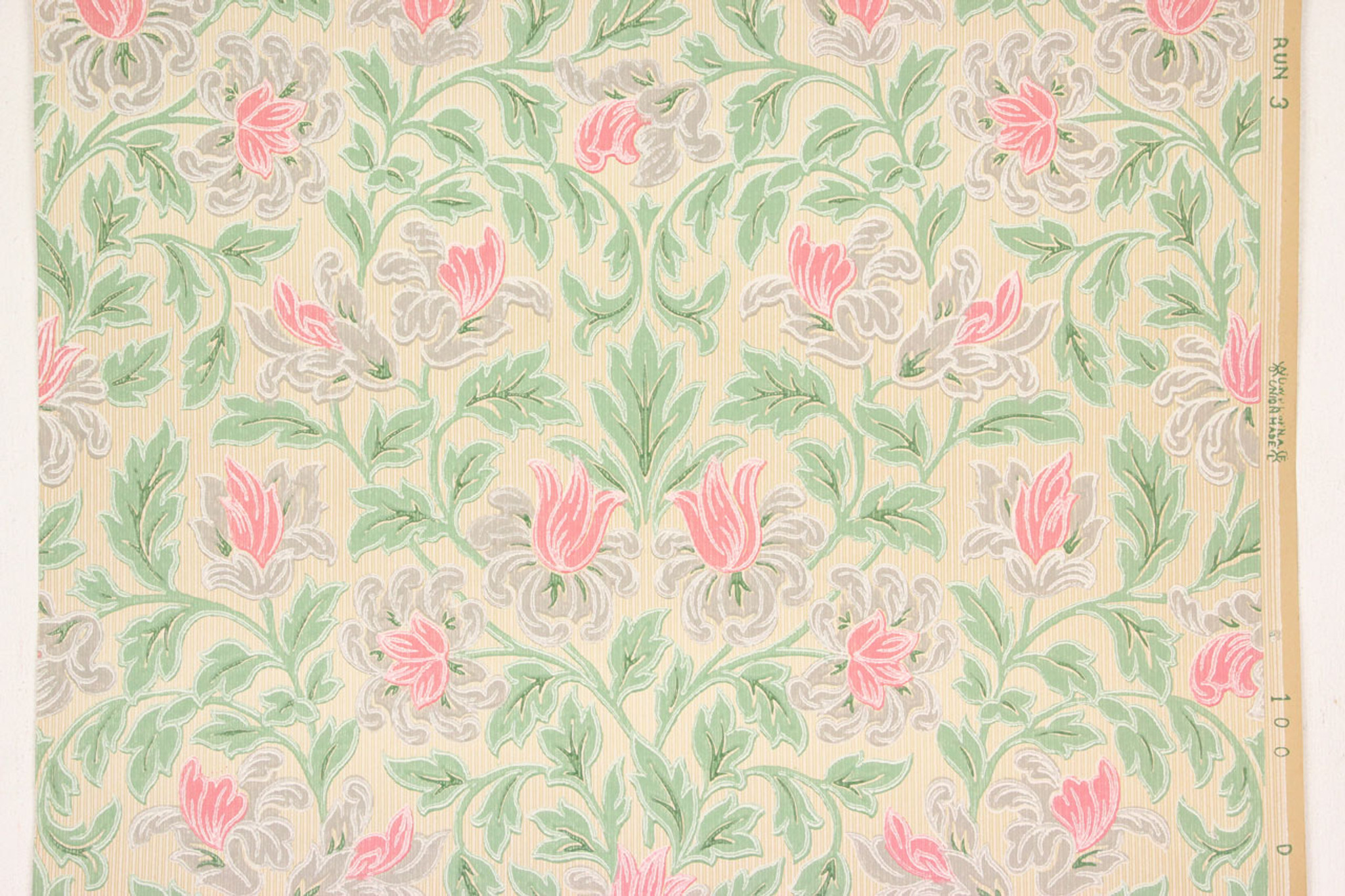 1930s vintage wallpaper pink flowers and green leaves on beige mightylinksfo