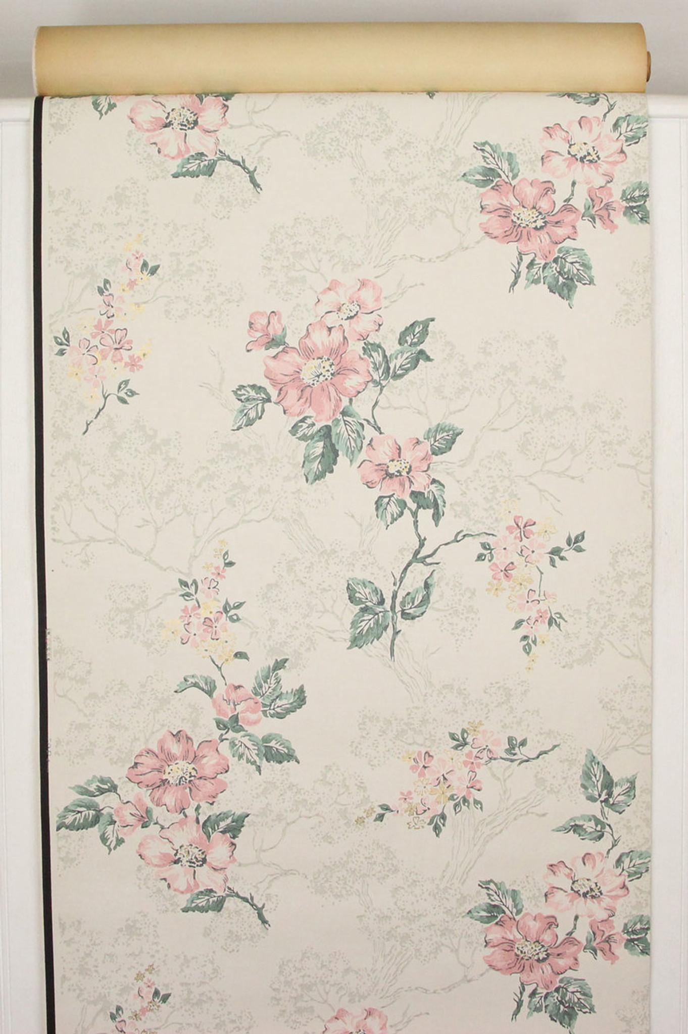 1940s Vintage Wallpaper Pink Flowers On White Rosies Vintage