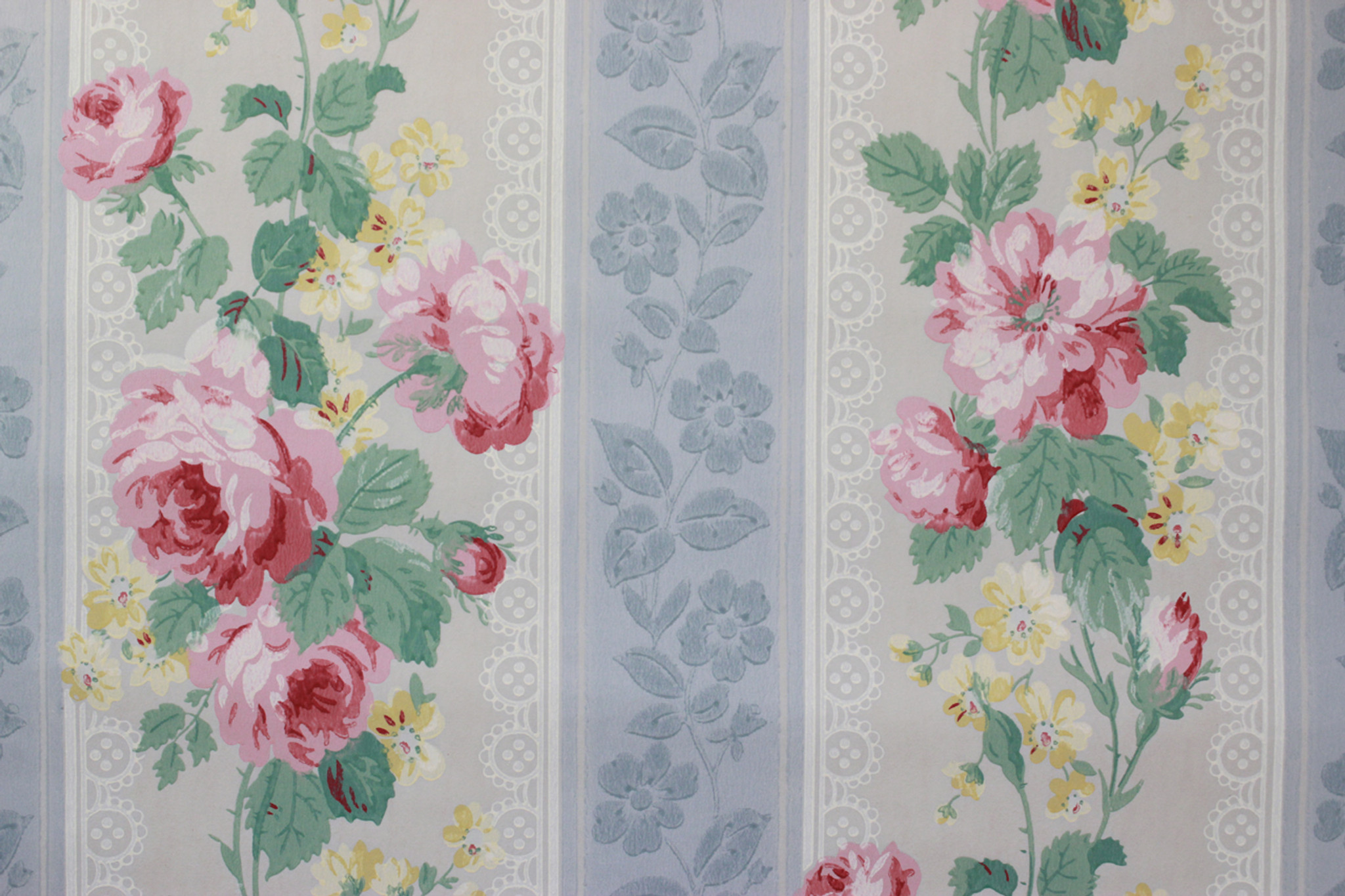 1950s Vintage Wallpaper Pink Roses And Yellow Flowers Rosies