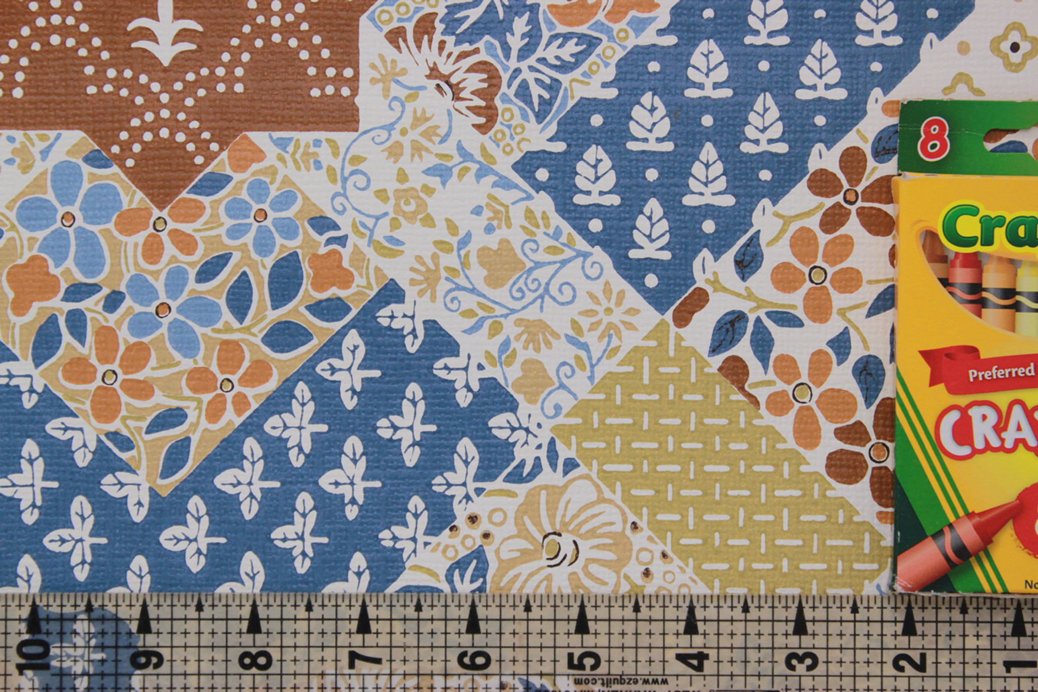 1970s Vintage Wallpaper Quilt Pattern Blue And Brown Rosies