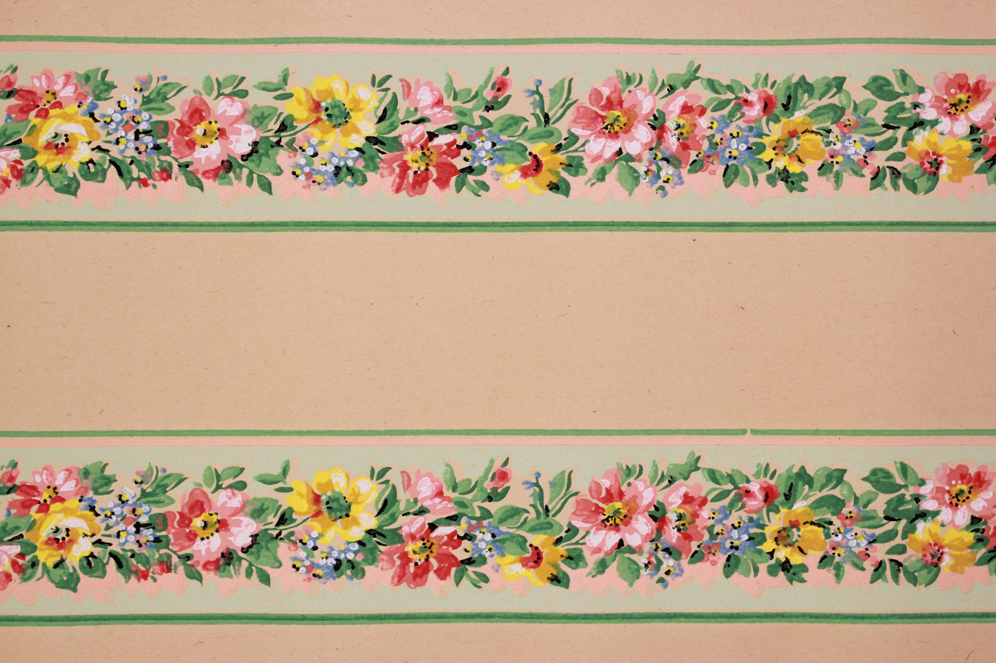 1930s vintage wallpaper border red and yellow flowers on for Wallpaper trim