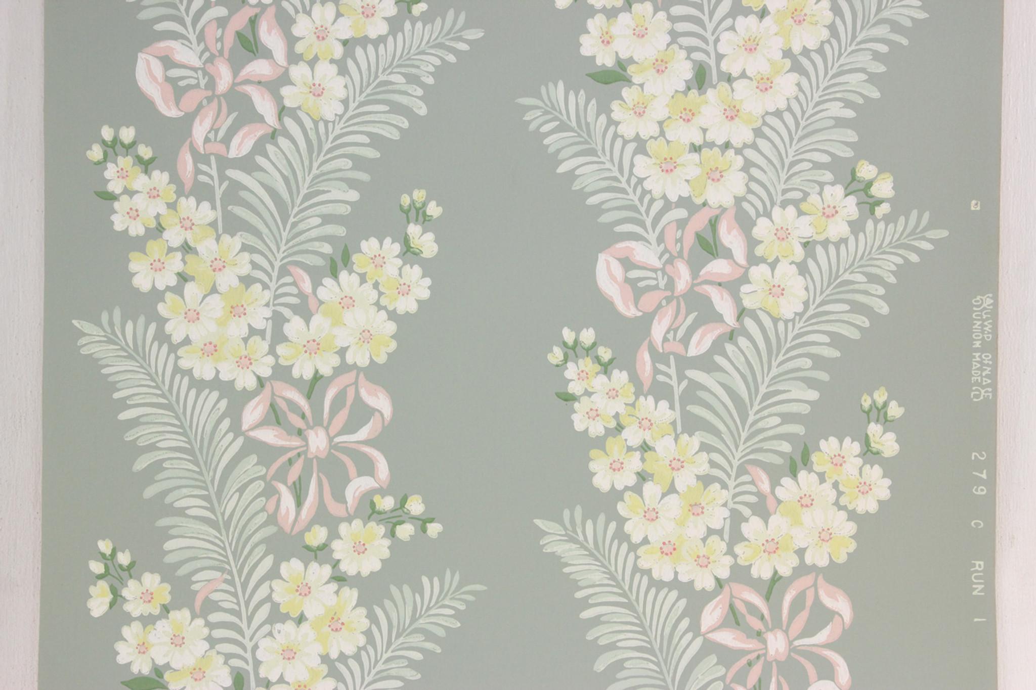 1940s Vintage Wallpaper Yellow Flowers Pink Ribbon Rosies Vintage