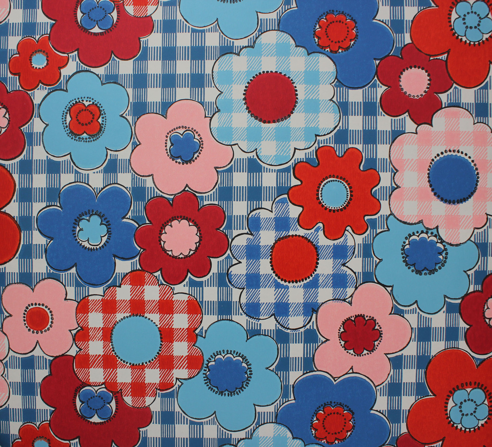 1970s Vintage Wallpaper Red Blue Flowers on Gingham - Rosie\'s ...