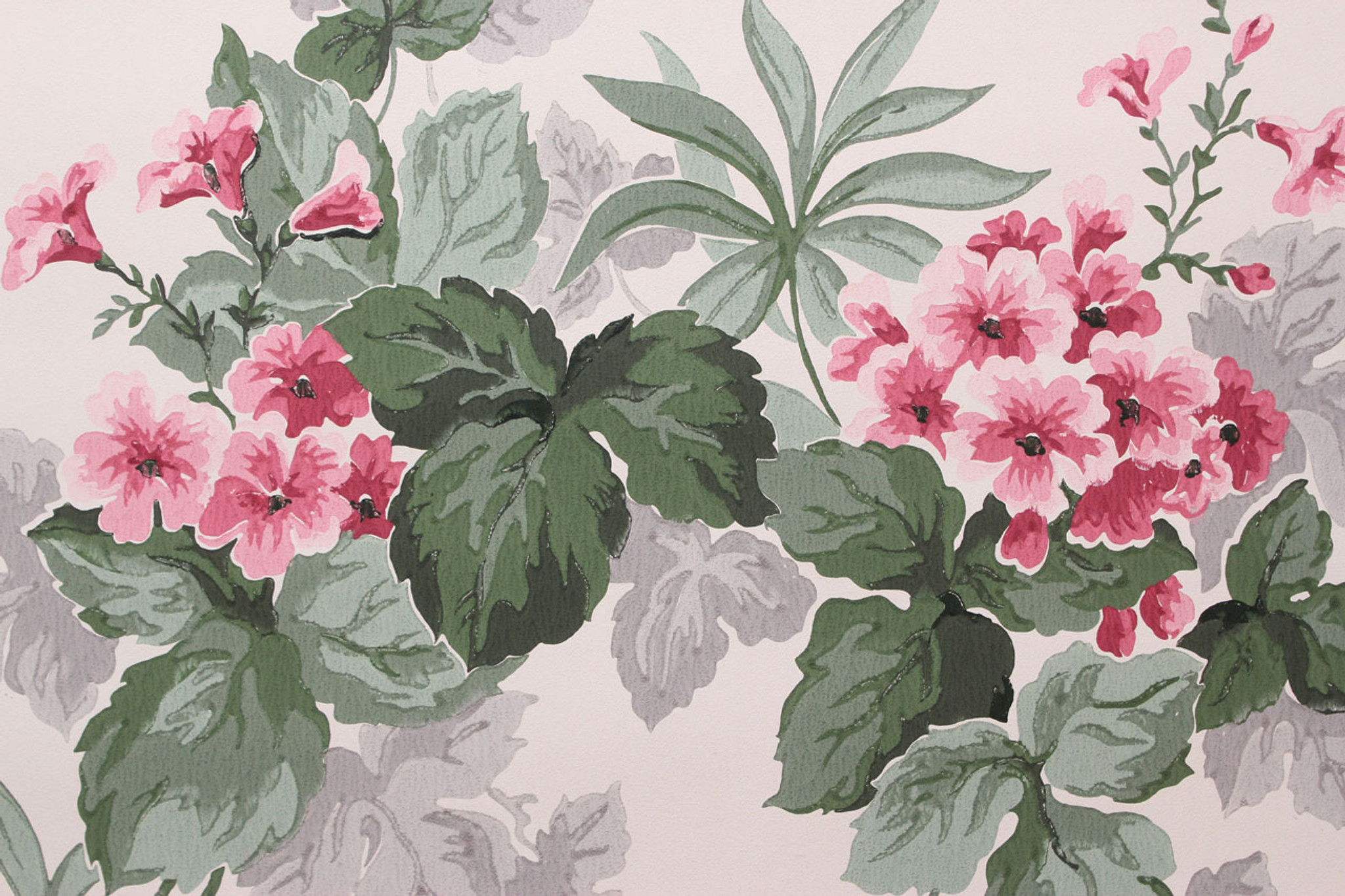 1950s Vintage Wallpaper Pink Flowers On White Rosies Vintage