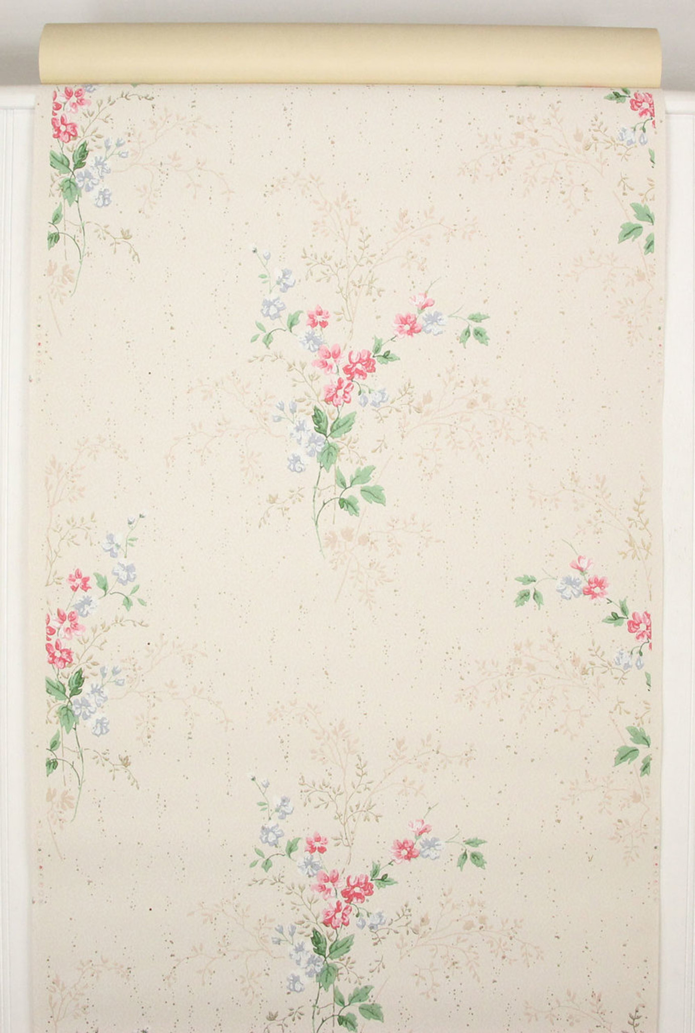 1940s Vintage Wallpaper Pink And Blue Flower Bouquets Rosies