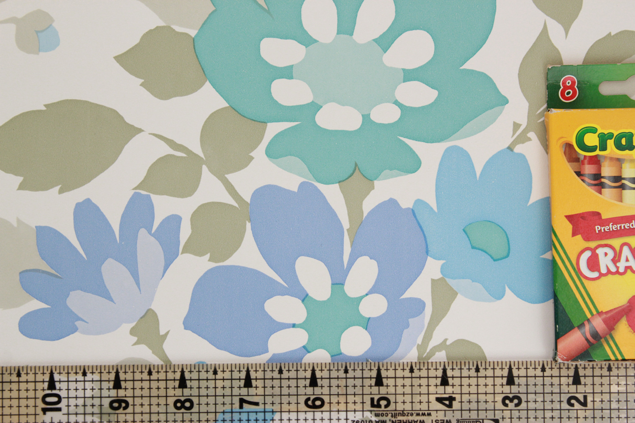 1970s Vintage Wallpaper Retro Blue and Green Flower - Rosie\'s ...