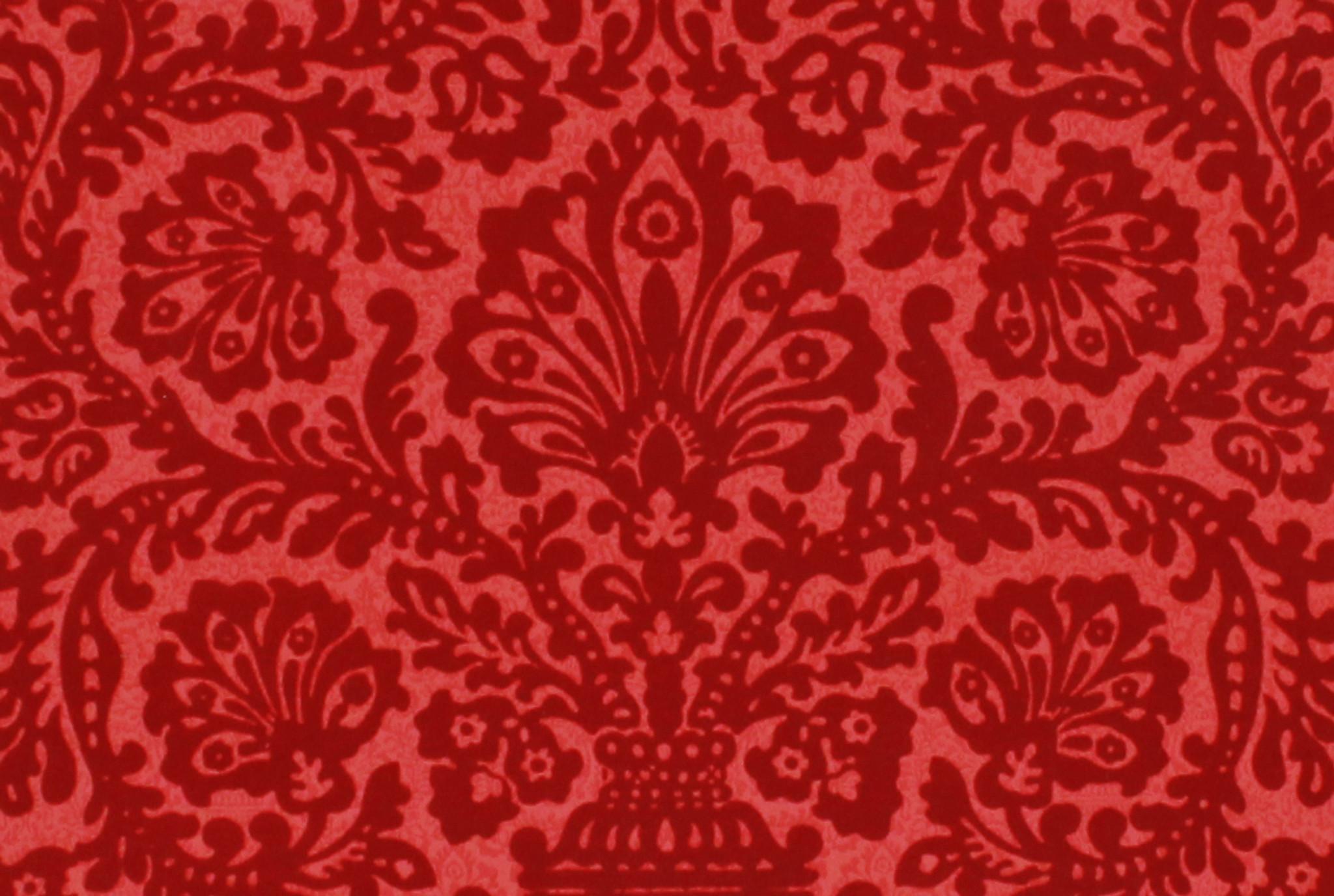1970s Vintage Wallpaper Red Flocked Damask - Rosie's ...