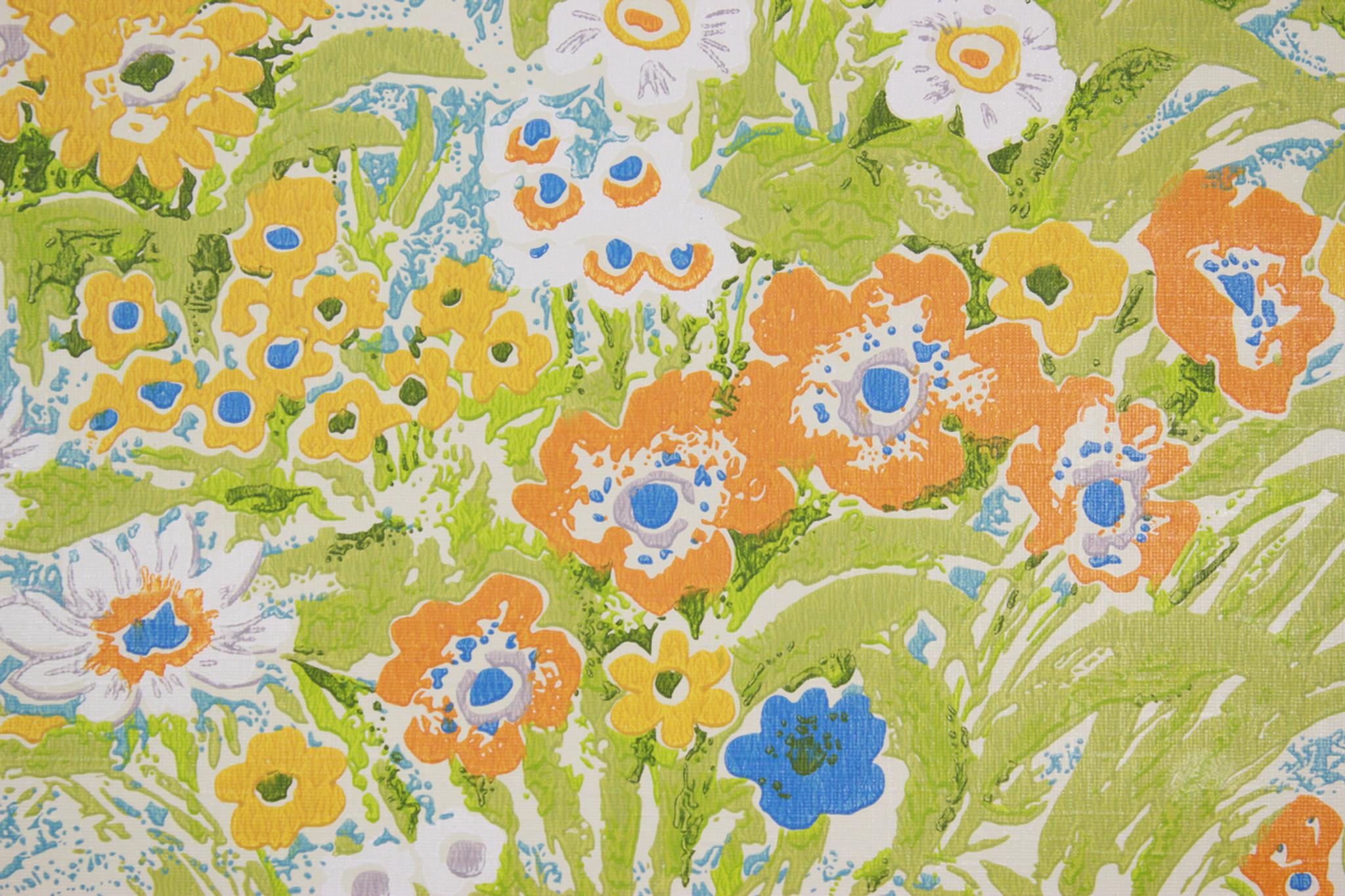 1970s Vintage Wallpaper Retro Blue Orange And Yellow Flowers