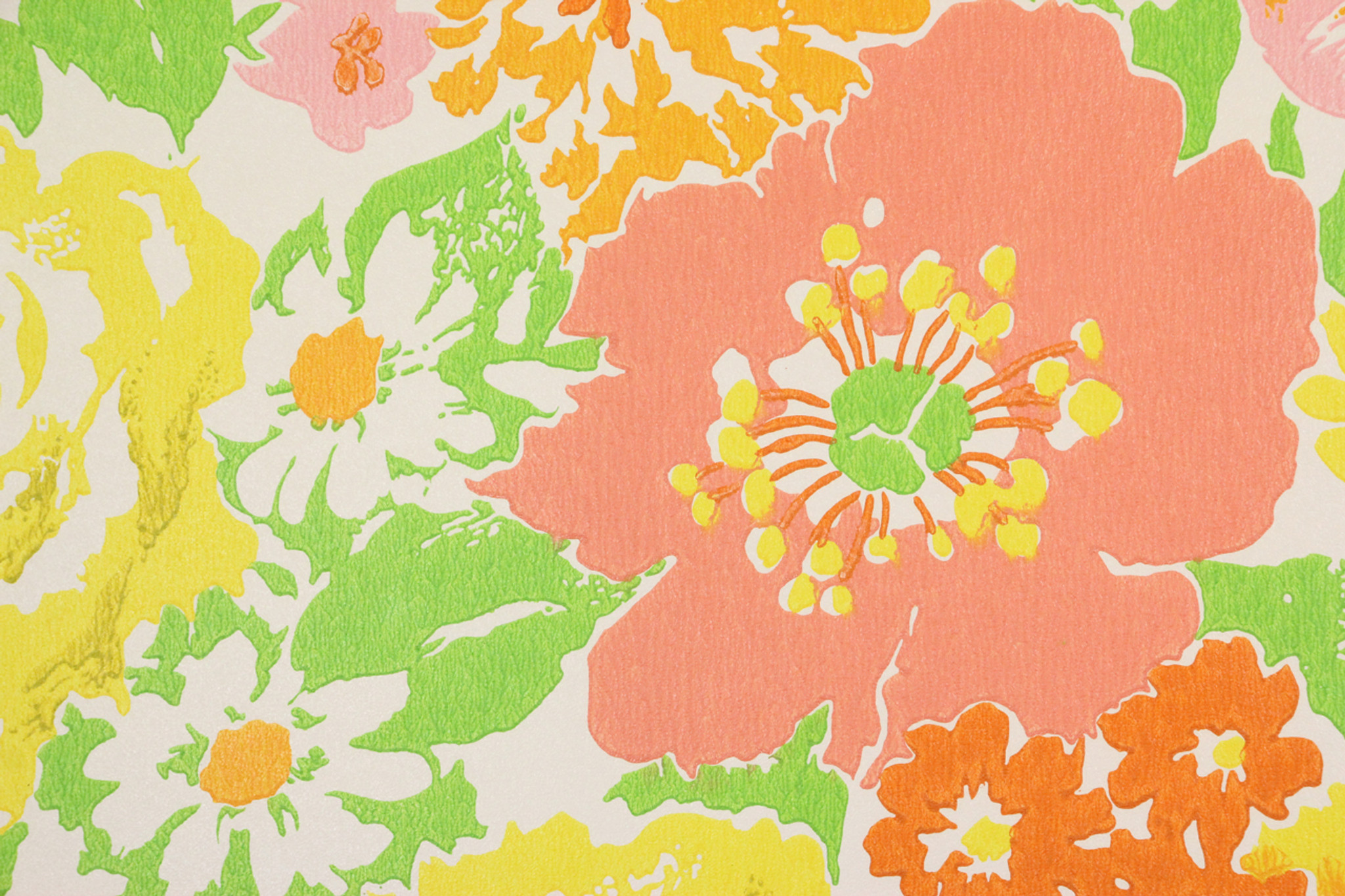 1970s Retro Vintage Wallpaper Pink Yellow Green Flowers Rosies