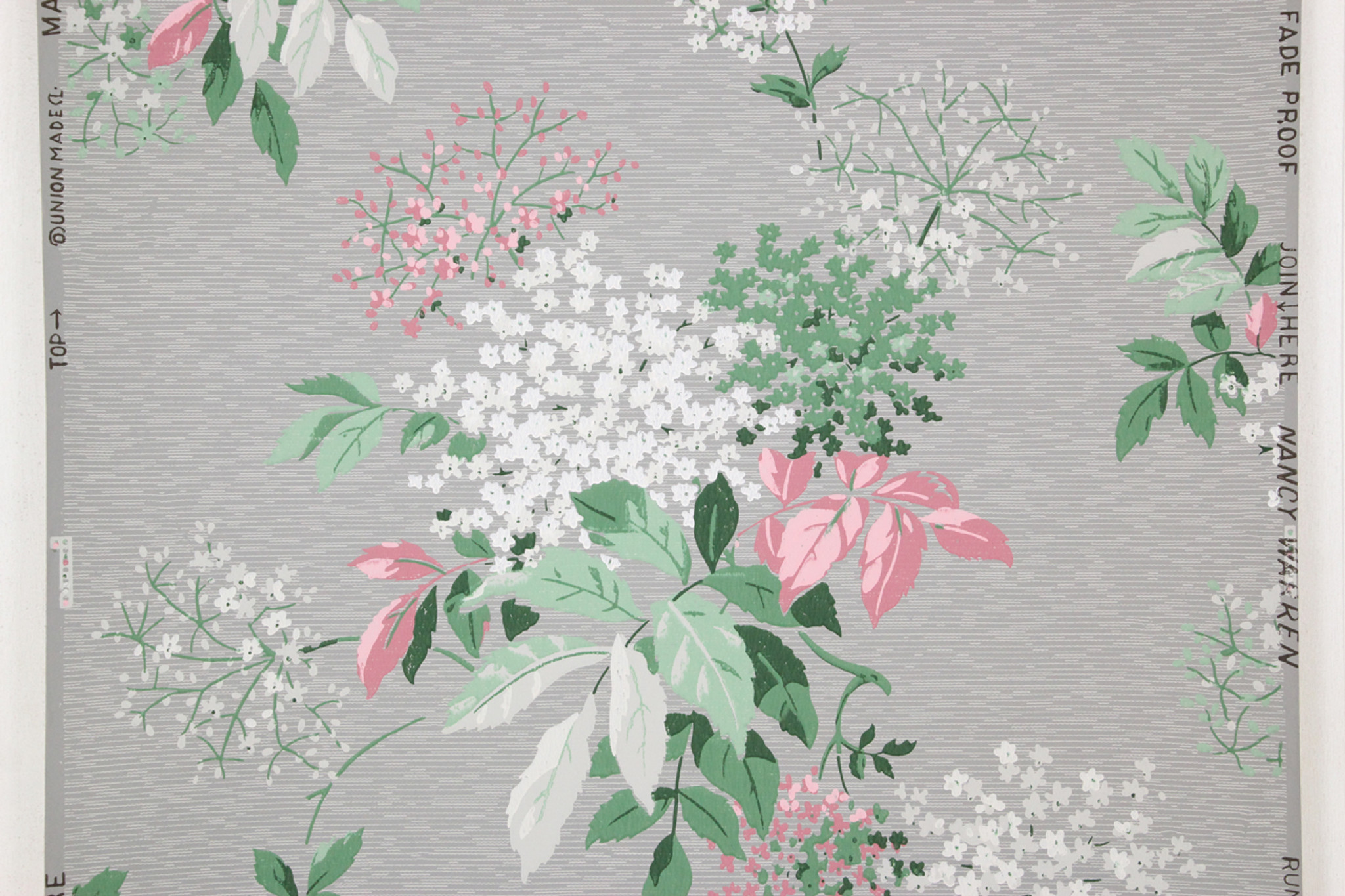 1950s Vintage Wallpaper Pink And Blue Flowers On Gray Rosies