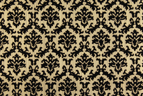 1970s Vintage Wallpaper Black and Gold Flocked Small Damask Design