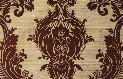 1970s Vintage Wallpaper Brown and Gold Flocked Large Damask Design