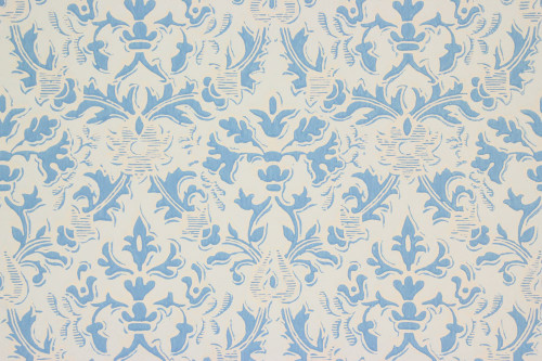 1960s Vintage Wallpaper Damask Design Blue