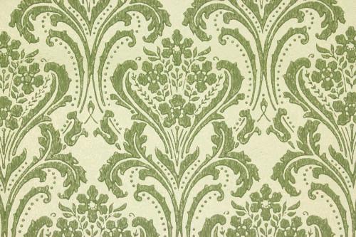 1960s Vintage Wallpaper Damask Design Green on Gold-Green
