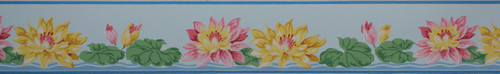 Duro Vintage Wallpaper Border Pink and Yellow Water Lilies