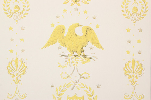 1970s Vintage Wallpaper Eagles Americana Yellow