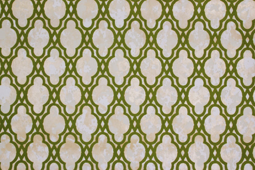 1970s Vintage Wallpaper Flocked Green Design