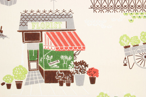 1940s Vintage Wallpaper Florist Shop