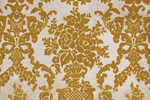 1970s Vintage Wallpaper Gold Flocked Damask Design