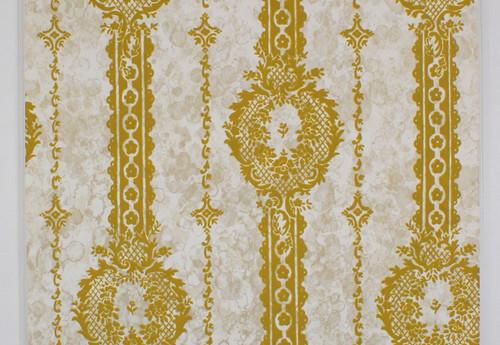 1970s Vintage Wallpaper Gold Green Flocked Design on Marble