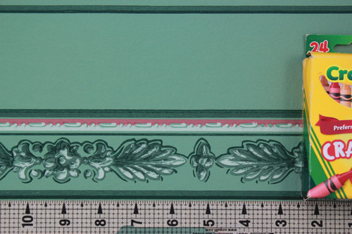 1940s Vintage Wallpaper Border Green Leaf