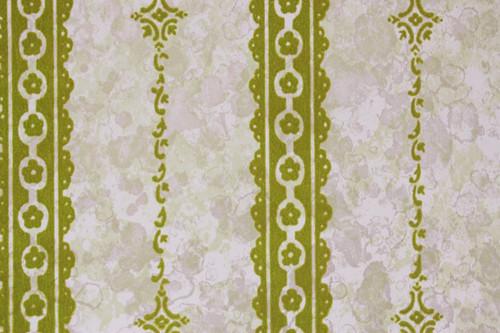 1970s Vintage Wallpaper Green Flocked Stripe on Marble