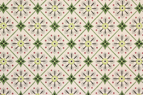 1940s Vintage Wallpaper Green Geometric on White
